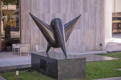 Memorial sculpture at Pauahi Tower in downtown Honolulu, O`ahu, Hawai`i