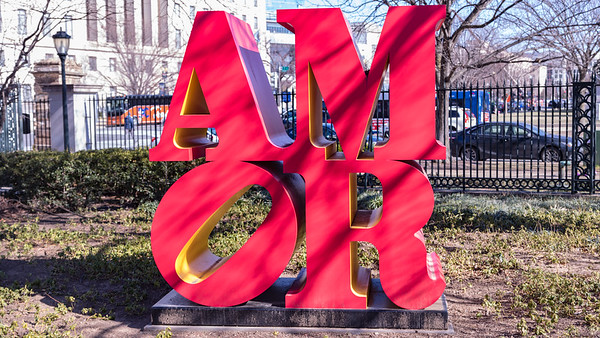 Amor, by Robert Indiana, conceived in 1998 and fabricated in 2006, polychrome aluminum, in the National Art Museum sulpture garden, Washington D.C.