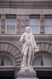 Benjamin Franklin statue in front of the Old Post Office building in Washington, D.C.