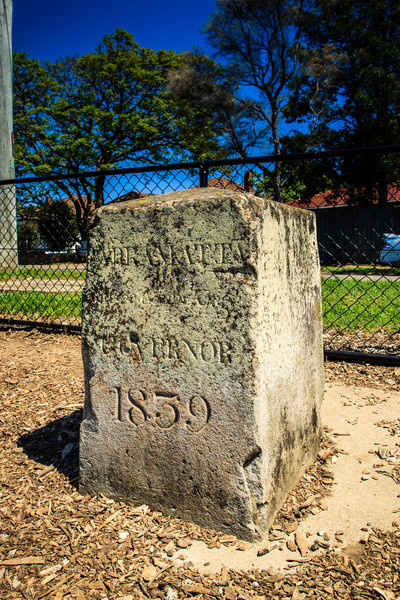 Parramatta, NSW, Australia<br /> One of the 9 boundary markers (6 still in or near their original locations - this one is on Boundary Rd, near the intersection with Balfour St) defining the edge of Parramatta. Erected in 1839 by David Lennox.