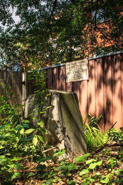 Parramatta, Sydney, NSW, Australia<br /> One of the 9 boundary markers (6 still in or near their original locations - this one is behind the apartments at 128 Railway St) defining the edge of Parramatta. Erected in 1839 by David Lennox.