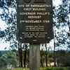 Parramatta Park, NSW, Australia<br /> Marking the site of Parramatta's first building, Governor Phillip's Redoubt (a fortified camp); 2 Nov 1788. Erected 1966.