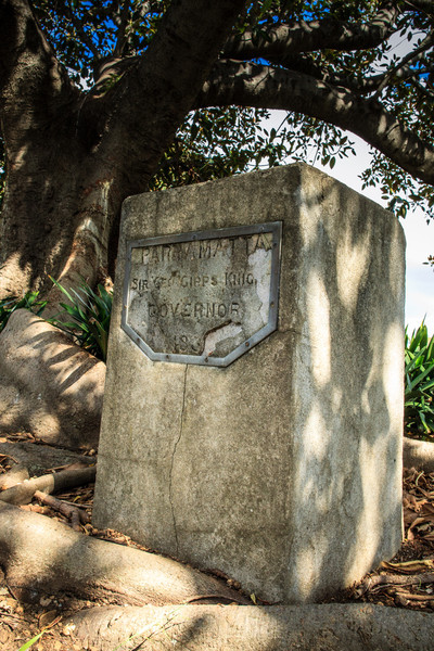 Parramatta, Sydney, NSW, Australia<br /> One of the 9 boundary markers (6 still in or near their original locations - this one is near the corner of Steele St and the Great Western Highway) defining the edge of Parramatta. Erected in 1839 by David Lennox.