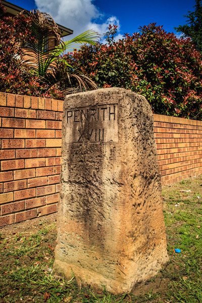 Parramatta, Sydney, NSW, Australia<br /> Milestone. One of 16 marking the journey from Sydney to Penrith along the Great Western Road (now part of the Great Western Highway), it dates to around 1846. Originally located nearer Pitt St (formerly Pitt Row); it now stands on the Highway near the intersection with Steele St.