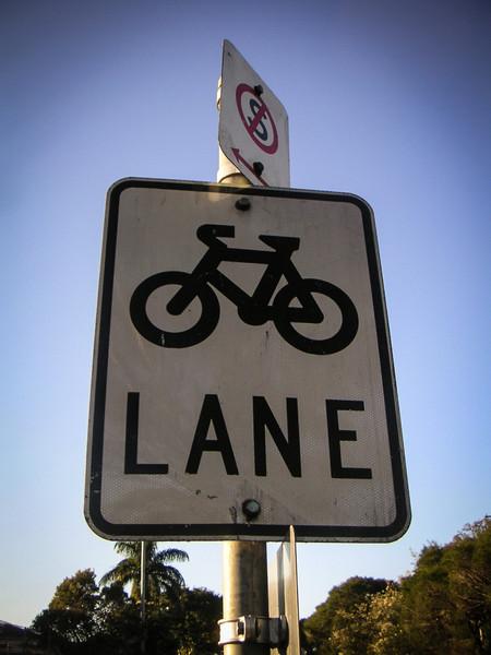 Brisbane, QLD, Australia<br /> Bike lane.