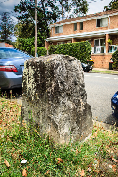 Parramatta, NSW, Australia<br /> One of the 9 boundary markers (6 still in or near their original locations - this one is near the corner of Weston and Alfred Sts) defining the edge of Parramatta. Erected in 1839 by David Lennox.