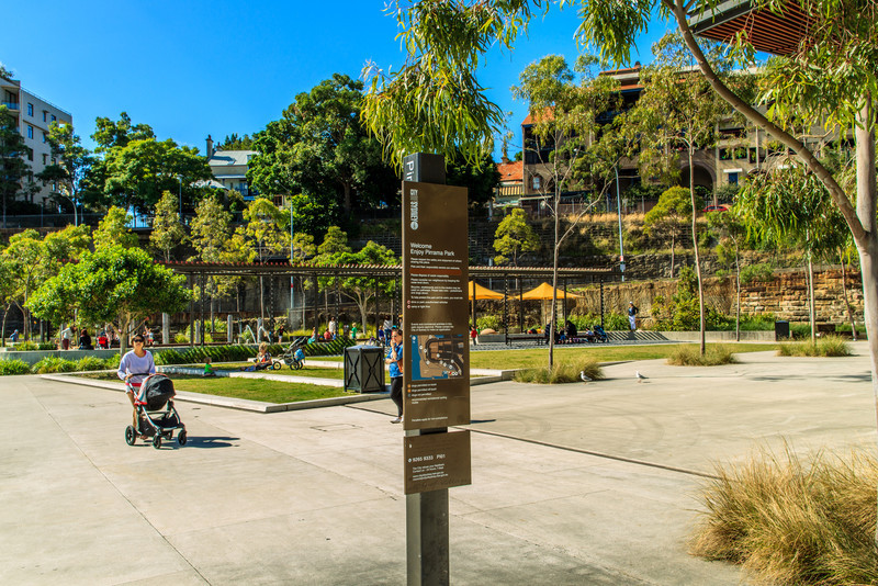Pyrmont, Sydney, NSW, Australia<br /> Pirrama Park, formerly Pyrmont Point Park. Created in 2005.<br />  <br /> Located on the site of the area's Water Police - bound by Pirrama Rd, Johnstons Bay and Jones Bay.