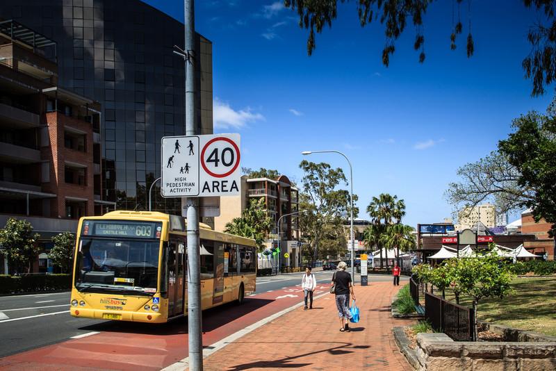 Parramatta, NSW, Australia<br /> Church St, approaching Lennox Bridge. Prince Alfred Park on right.