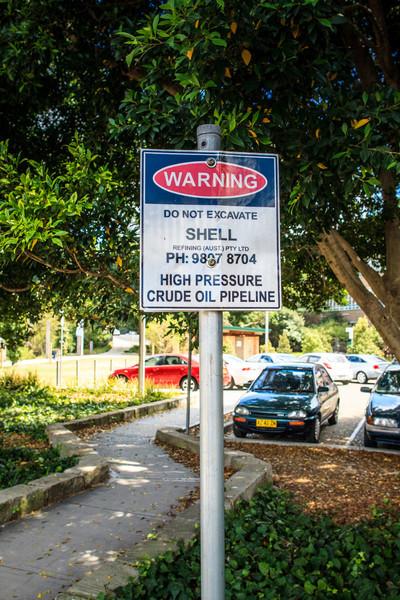 Ryde, Sydney, Australia<br /> Warning sign beside Ryde Wharf Reserve.