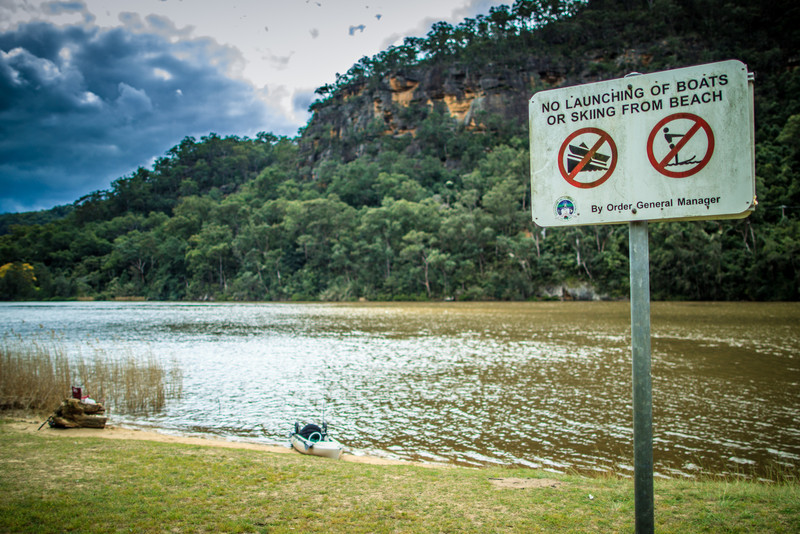 No Launching of Boats or Skiing from Beach.