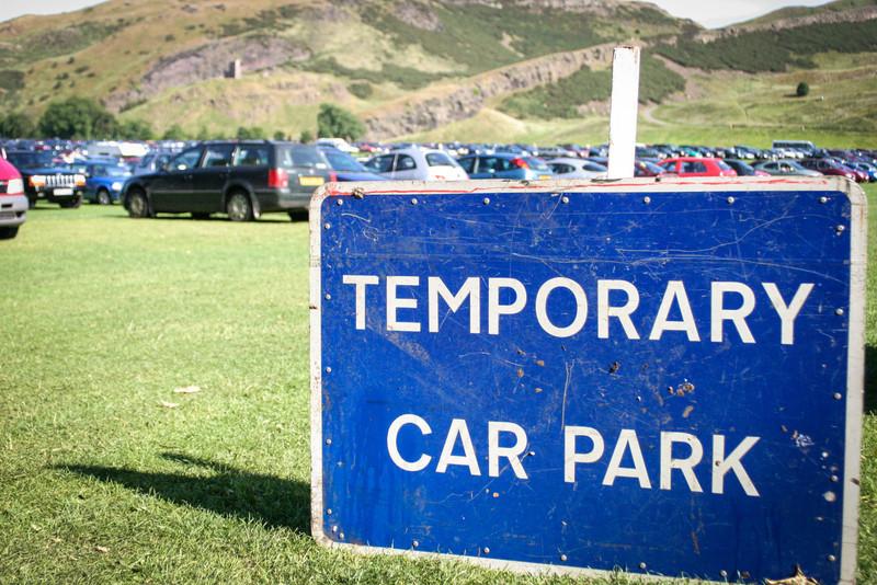 Holyrood Park, Edinburgh<br /> Temporary Car Park.
