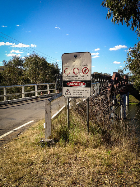 Clarence Town, NSW, Australia<br /> The Clarence Town Bridge, officially known as the 'Brig O'Johnston'. A Public Works Department (PWD) type timber truss road bridge, completed in 1880, and completely rebuilt in 1926/7.