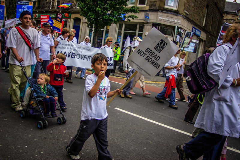 Edinburgh, Scotland<br /> Make Poverty History protest.