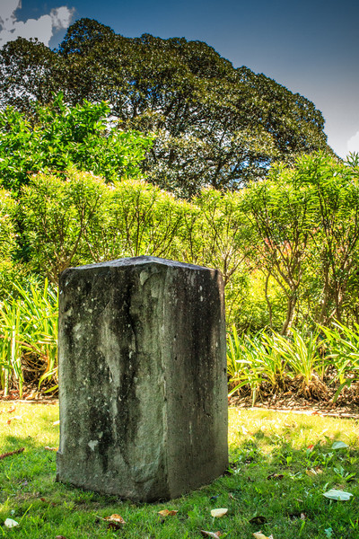 Parramatta, Sydney, NSW, Australia<br /> One of the 9 boundary markers (6 still in or near their original locations - this one is in the grounds of Hambledon Cottage, near the house itself; originally on Pennant St near the current James Ruse Drive) defining the edge of Parramatta. Erected in 1839 by David Lennox.