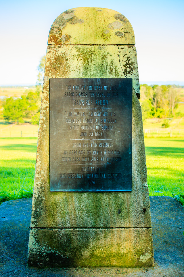 Marking the final height of the 1867 flood (which peaked on June 23). Erected by Hawkesbury Historical Society, 1976.<br /> <br /> Situated behind the St. James Anglican Church.