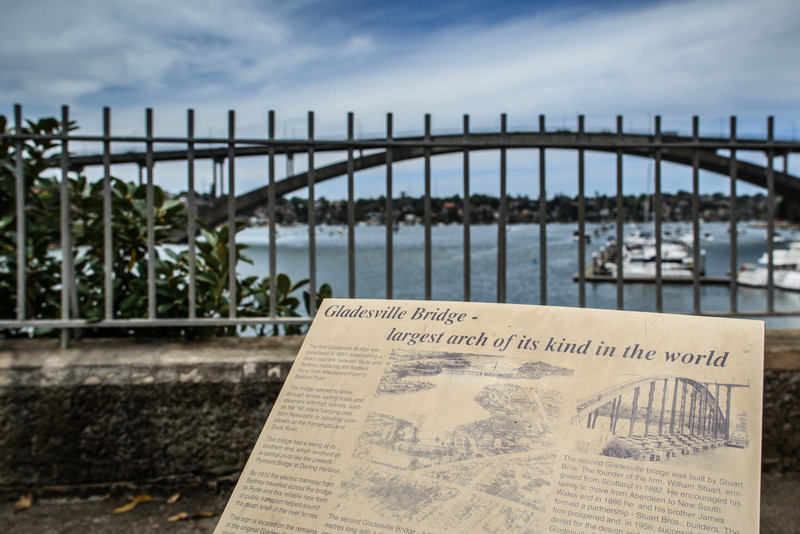 Sydney, Australia<br /> The Gladesville Bridge over the Parramatta River, opened in 1964. Viewed from Howley Park, site of the original Gladesville Bridge (1881).