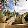 Stairs leading to wedding chapel at Ko' Olina Resort in Oahu, Hawaii.