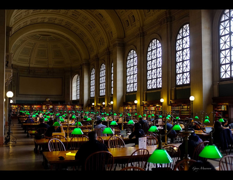 """A reading room in the McKim building of the Boston Public Library. The builders had great vision.  One outside wall has the inscription:  """"THE COMMONWEALTH REQUIRES THE EDUCATION OF THE PEOPLE AS THE SAFEGUARD OF ORDER AND LIBERTY""""."""