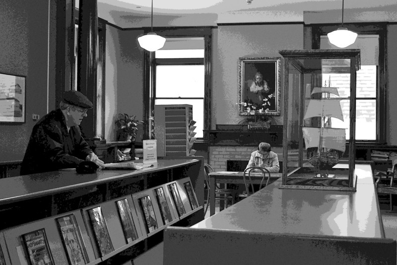 Patrons<br /> These two gentleman just seemed to belong at the Carnegie Library in Little Falls, MN.