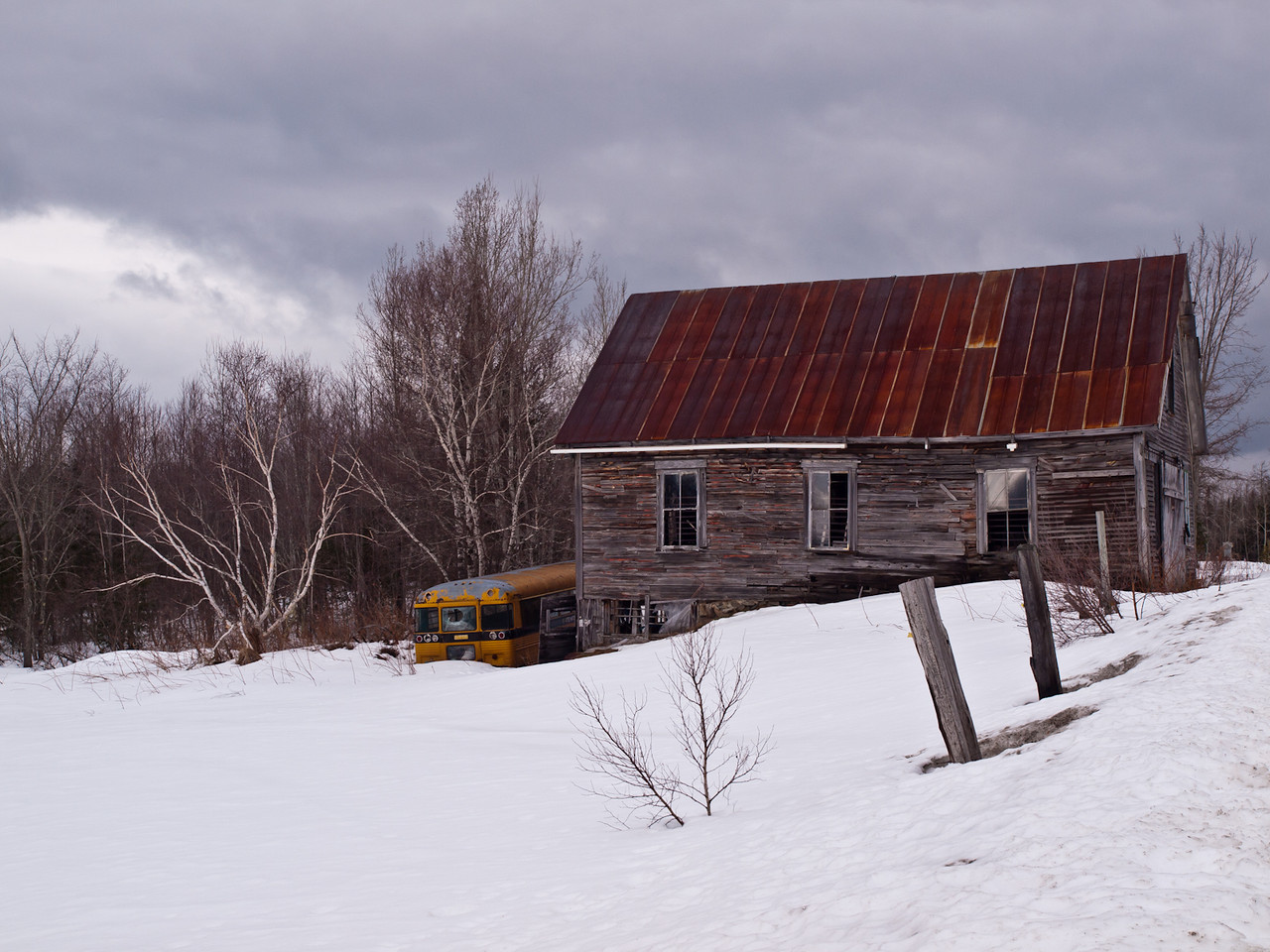 Abandoned homestead in northern NH.  Once again I found myself atop a snowbank.