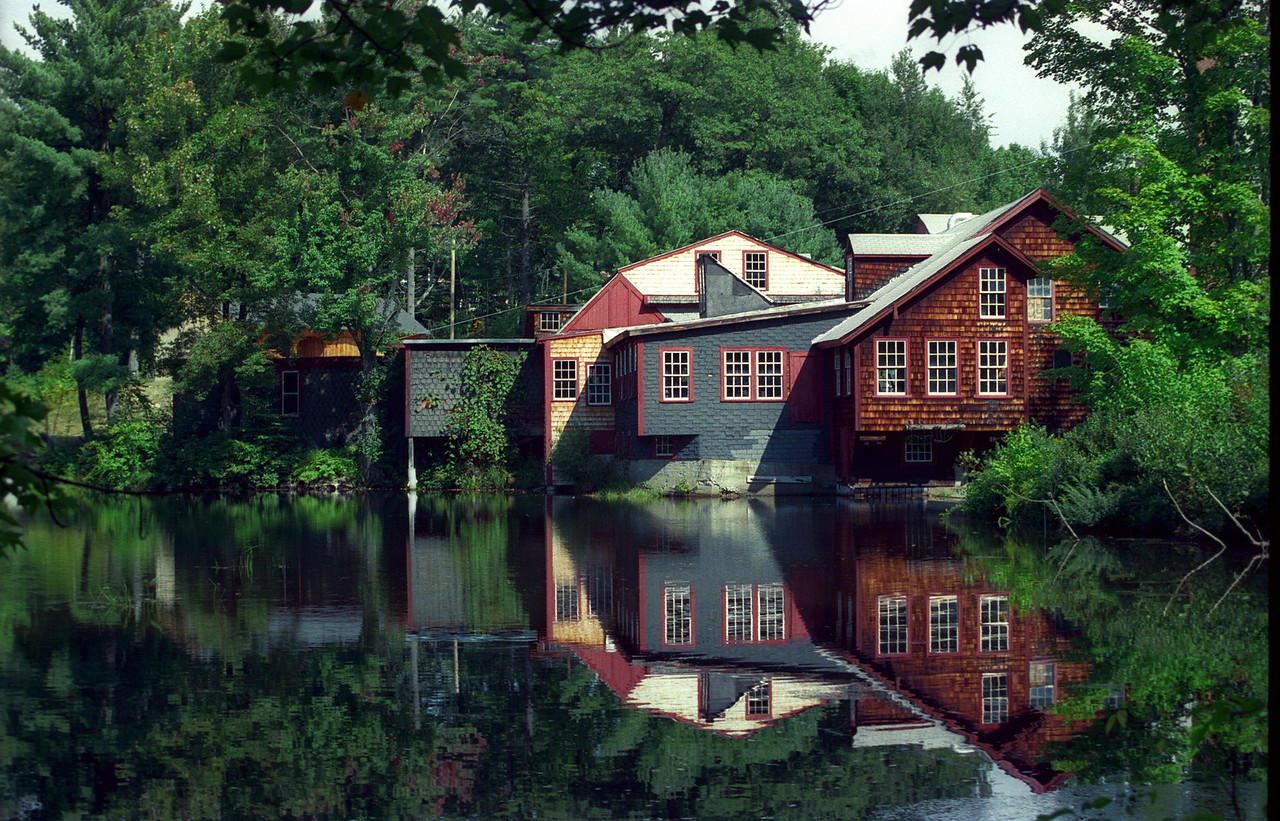 Frye's Measure Mill, Wilton, NH Summer view; part of a seasonal study I did in the 1990s.  Film scan.