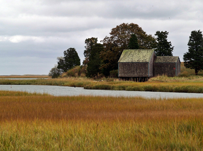 Private boathouse at saltmarsh