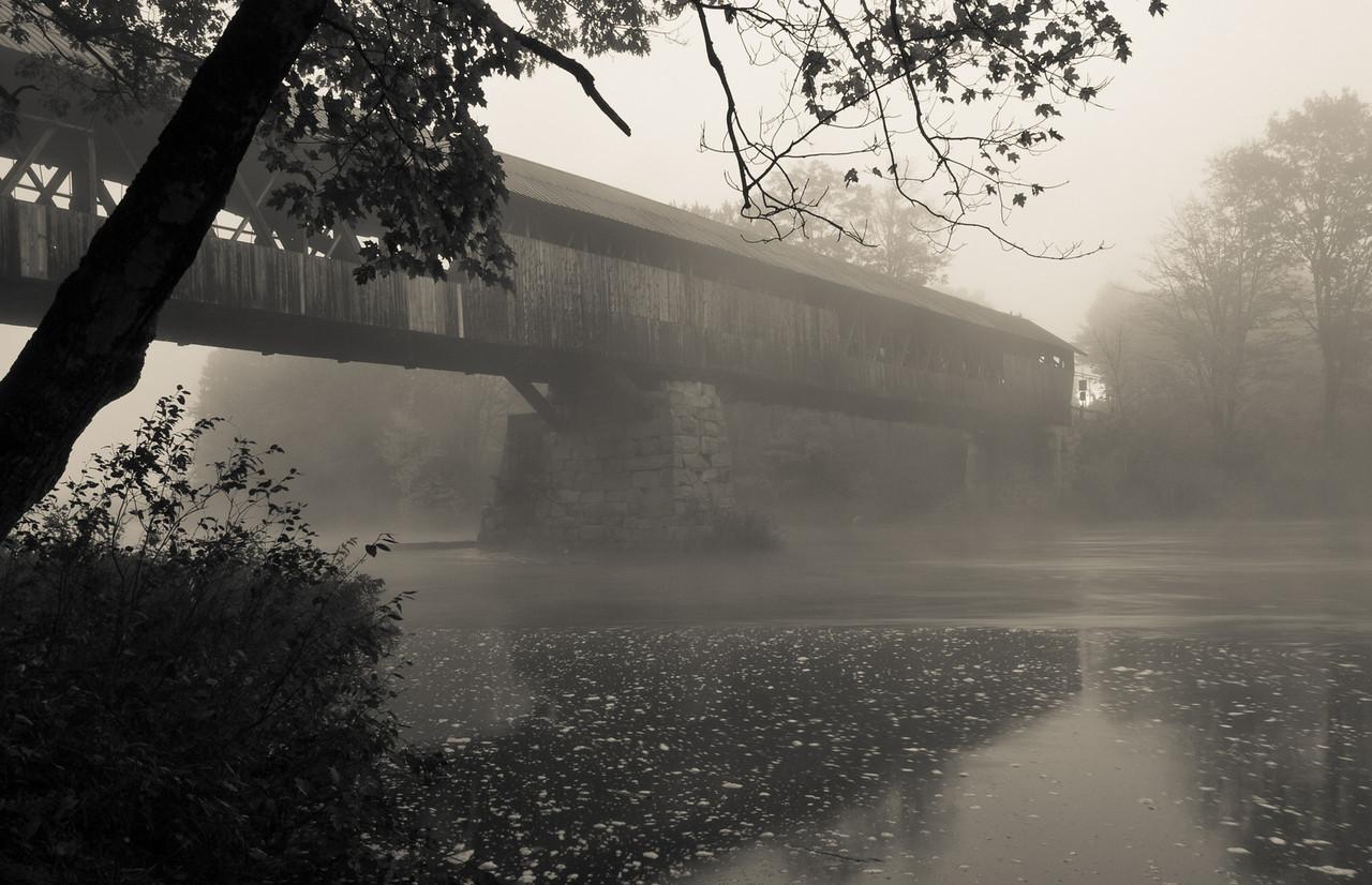 Blair Bridge on a foggy morning before the sun crested.  Campton, NH.