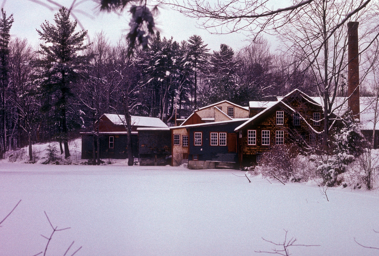 Frye's Measure Mill, Wilton NH Winter view; part of a seasonal study I did in the 1990s.  This is a film scan and quite badly magenta.