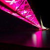 Sundial Bridge lighted in pink during Breast Cancer Awareness Week 2011, Redding, CA