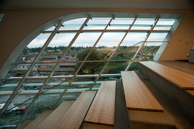 """""""Ampitheatre stairs"""" are found on two staircases on the east side of the new Surrey Public Library."""