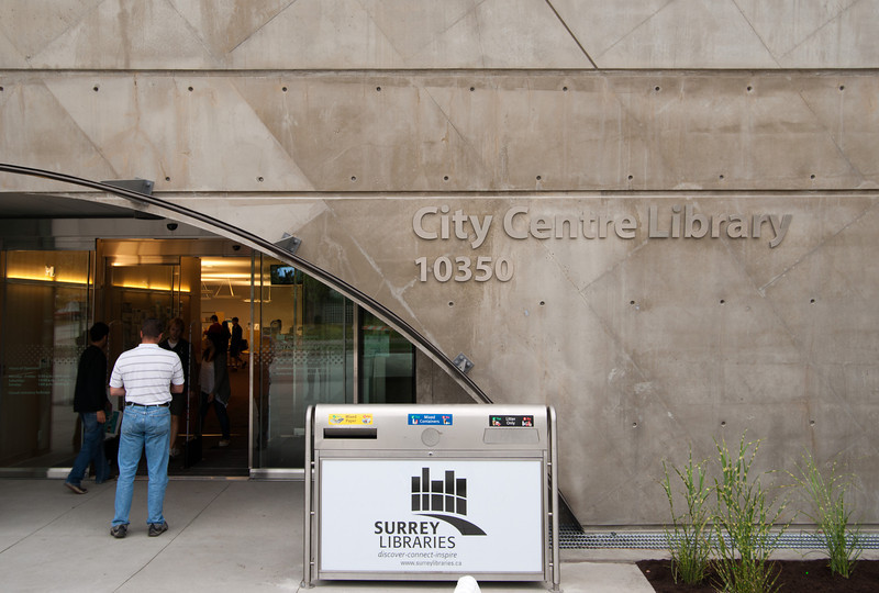 Garbage cans are front and centre at the entrance to the new Surrey Public Library.