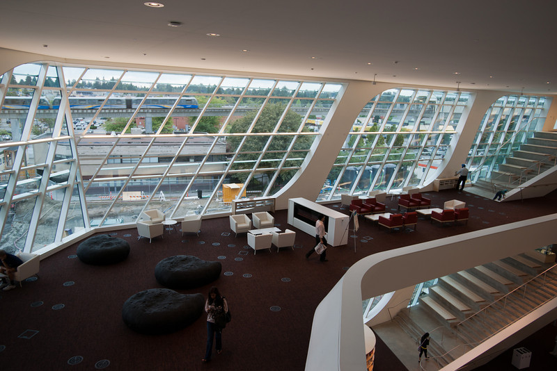 "Looking down at the ""living room"" area at the new Surrey Public Library."