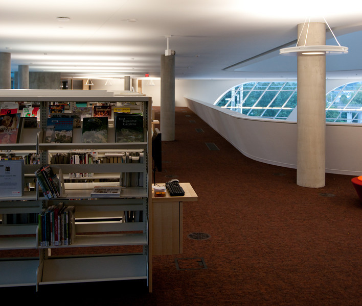 Nearly-empty shelves abound at the new Surrey Public Library.