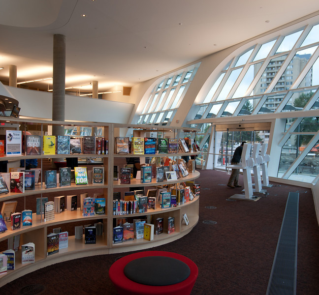 "The ""new arrivals"" section in the northeast corner of the new Surrey Public Library."