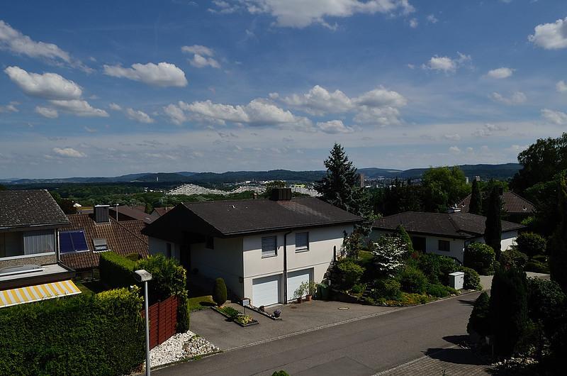 pohled z bytu Thomasových rodičů ve čtvrti Rombach
