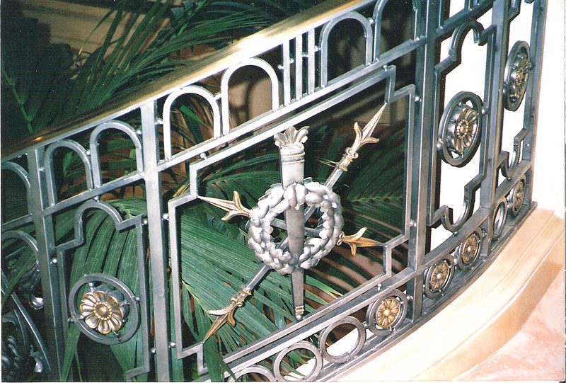 "Detail of main staircase railing for the hotel lobby set of ""Out of Towners"" (Paramount Pictures)"