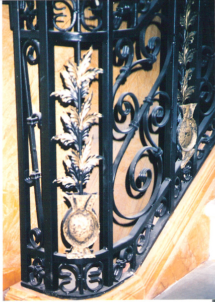 "Detail of grand staircase railing for the set of ""Town and country"" (Culver Studios)"