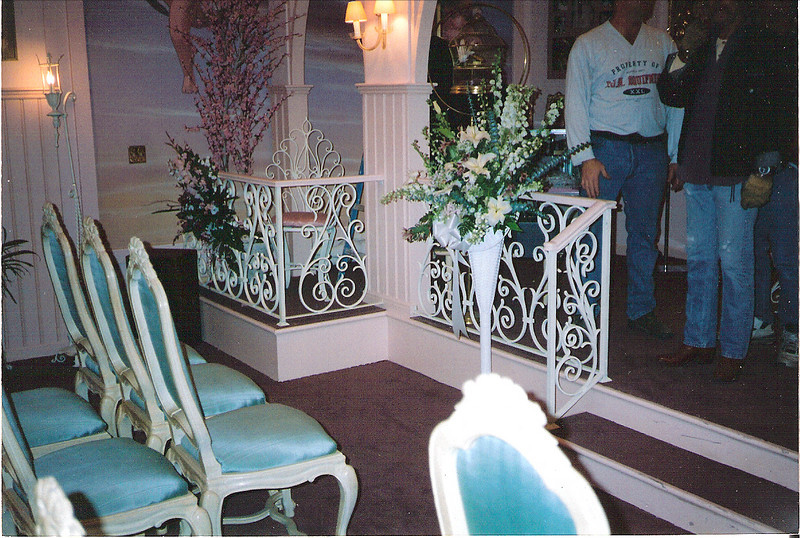 "Wedding chapel handrail  rail for the set of ""I Love Trouble"" (Ann Hall Productions)"