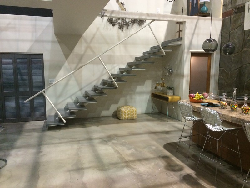 "Stairs in Rachel's basement for the set of ""Glee"" Season 5"