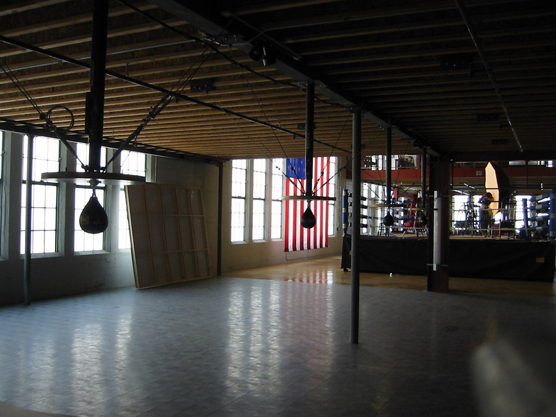 "Ceiling supports for Speed Bags on the set of the first season of ""The Contender"" (NBC)"