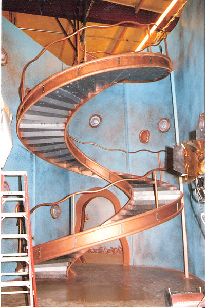"Three story spiral staircase and rail for the set of ""Mom and Dad save the World"""
