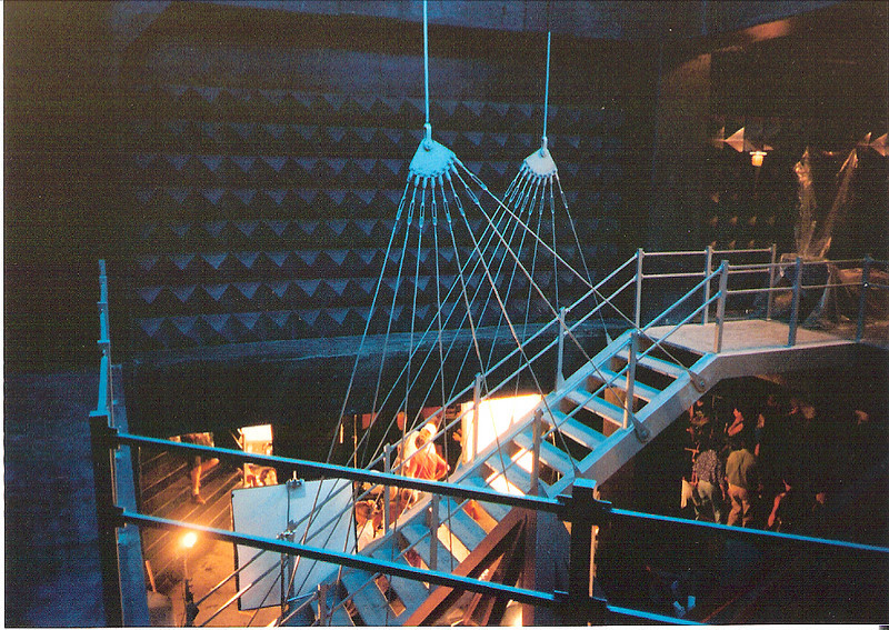 "Grand suspended staircase in Koopas palace for the set for ""Super Mario Bros."""
