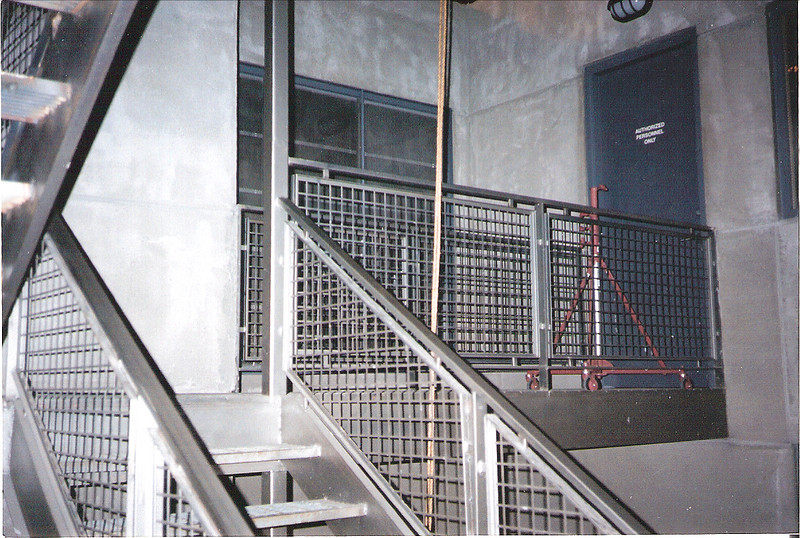 """Laboratory staircase and rail for the set of """"I Love Trouble"""" (Ann Hall Productions)"""