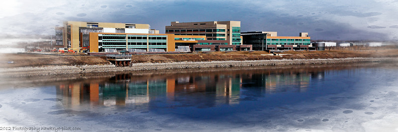 A panoramic view of the office spaces and Gallup University along the Missouri River in Omaha, Nebraska