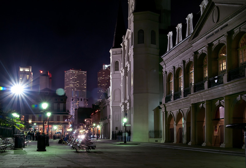 Nightime on Jackson Square in New Orleans, Louisiana