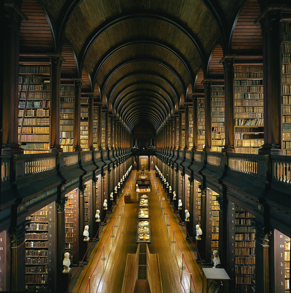 The Long Room, as the Library at Trinity College, Dublin