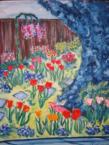 """""""Garden at 2280 Vallejo Street"""" Julie Rebouche (Water-based oil on canvas, 2003)"""