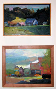 """Last Farm -- Hwy 4"" and ""Pt. Reyes Shops"" Jerrold Turner (Oil on canvas, 2001)"