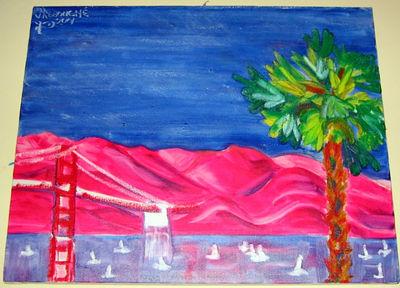 """Marin from Vallejo Street"" Julie Rebouche (Oil on canvas, 2002)"