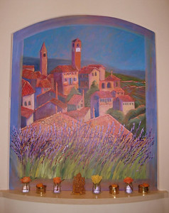 """Campanile at Sepino"" Sally Landis (Oil on canvas, 2004-2005)"